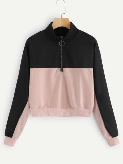 Contrast Panel Half Zip Sweatshirt