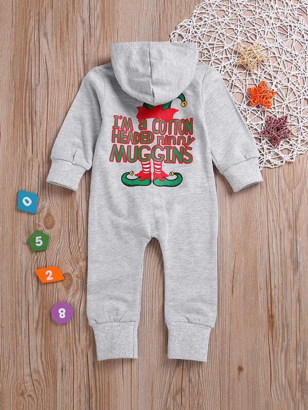 f40ac55c9284a Toddler Boys Letter Print Hooded Jumpsuit | SHEIN UK