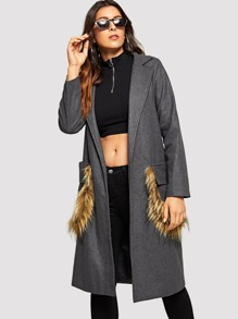 Contrast Faux Fur Tweed Coat