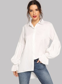 Bishop Sleeve Curved Dip Hem Shirt