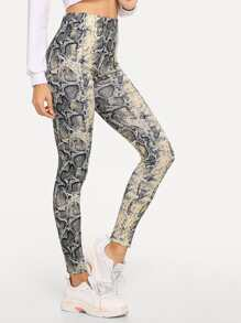 Snake Skin Wide Waistband Leggings