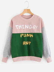 Colorblock Letter Print Drop Shoulder Sweatshirt