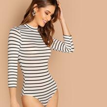 SHEIN   Mock Neck Slim Striped Bodysuit   Goxip