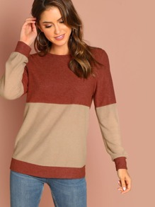 Two Tone Long Sleeve Pullover