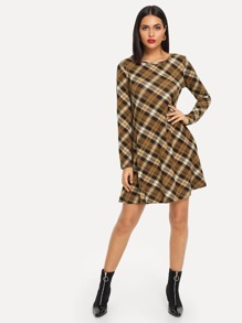 Plaid Print Round Neck Dress
