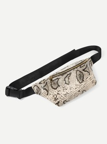 Snakeskin Print Zipper Bum Bag