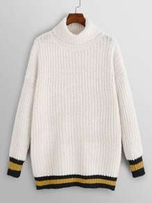 Plus Turtleneck Drop Shoulder Eyelet Jumper