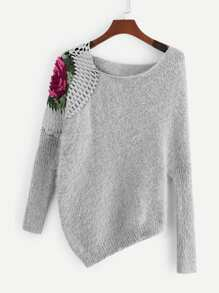 Loose Knit Asymmetrical Floral Shoulder Sweater