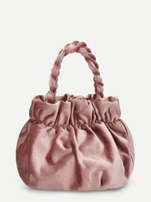 Plain Ruched Detail Velvet Bag
