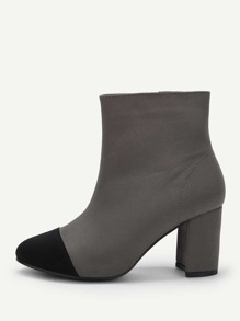 Zipper Side Cap Toe Ankle Boots