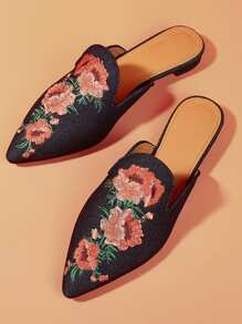 Flower Embroidery Flat Mules
