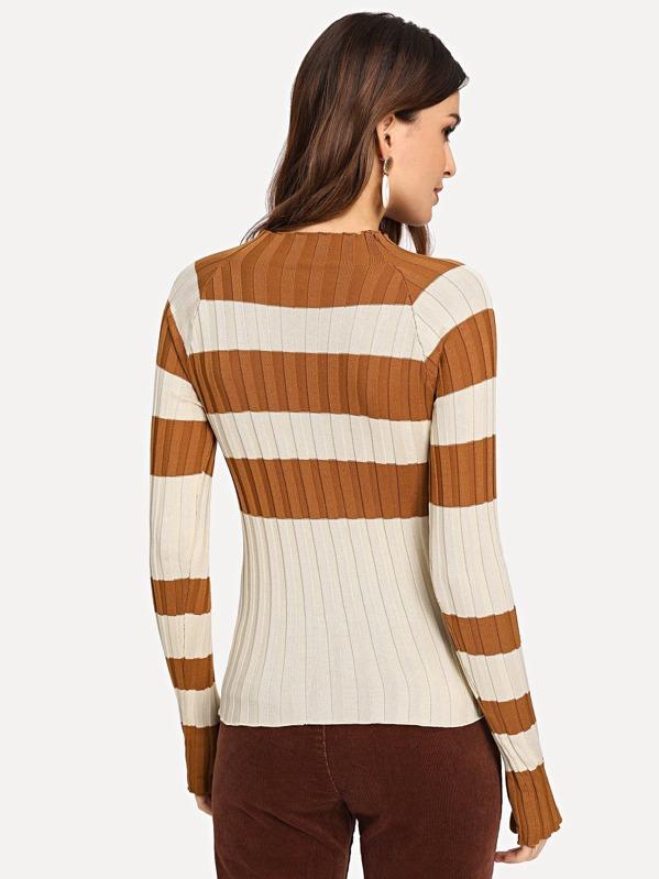 453730eb4c39 Mock-neck Colorblock Thumb Hole Sweater   SHEIN