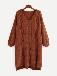 Plus Drop Shoulder Step Hem Knit Dress