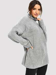 Drop Shoulder High Neck Sweater