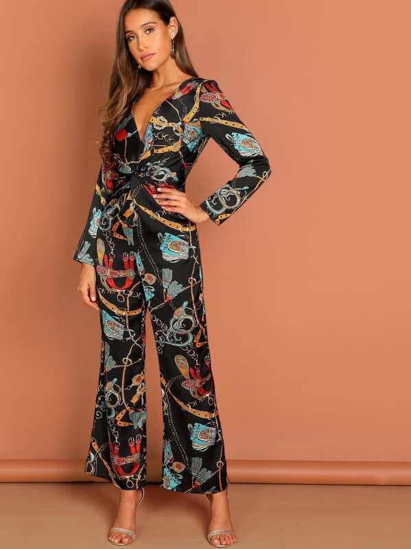4471c4d0837 Waist Knot Chain Print V-Neck Jumpsuit