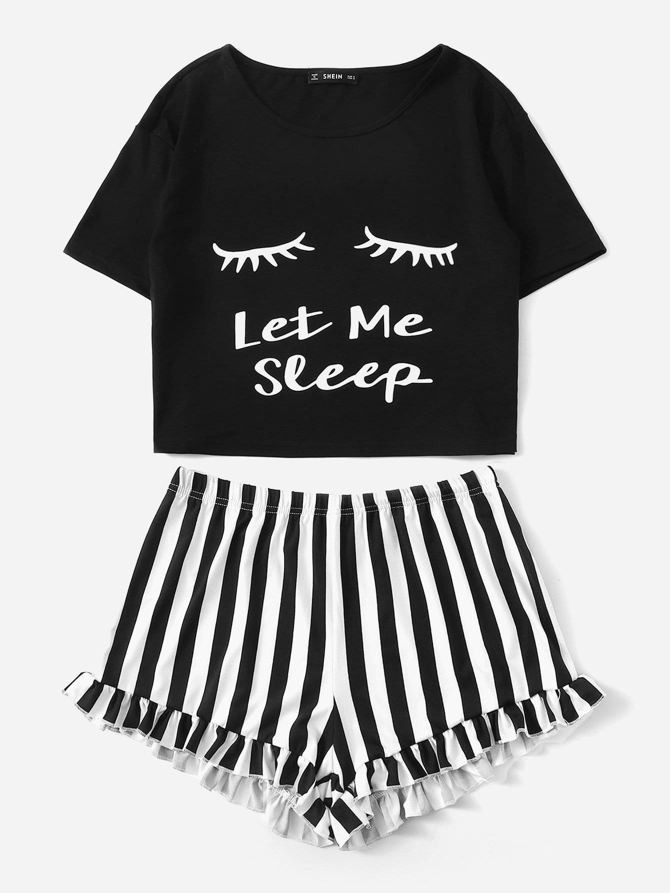 Zwart Casual Gestreept Lounge kleding Ruches | SHEIN