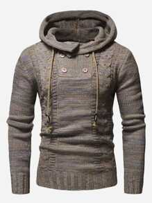 Men Cable Knit Hooded Jumper