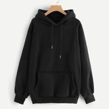 SHEIN | Raglan Sleeve Kangaroo Pocket Hoodie | Goxip
