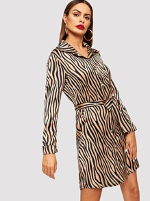 Self Tie Zebra Print Shirt Dress