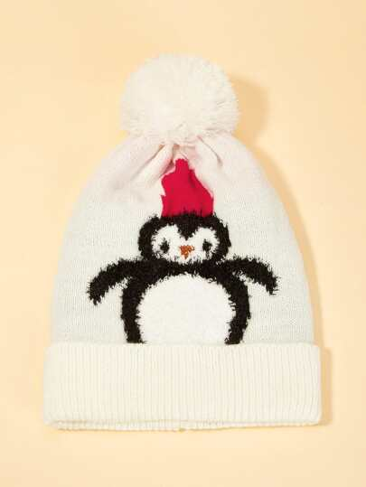 2378422d881 Christmas Kids Cartoon Penguin Pattern Cuffed Beanie Hat
