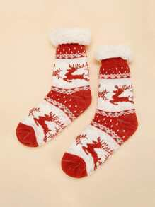 Christmas Elk Pattern Socks 1pair