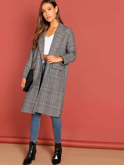 e03258f24a Button Front Checkered Plaid Long Over Sized Coat