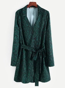 Knot Side Snakeskin Print Shirt Dress