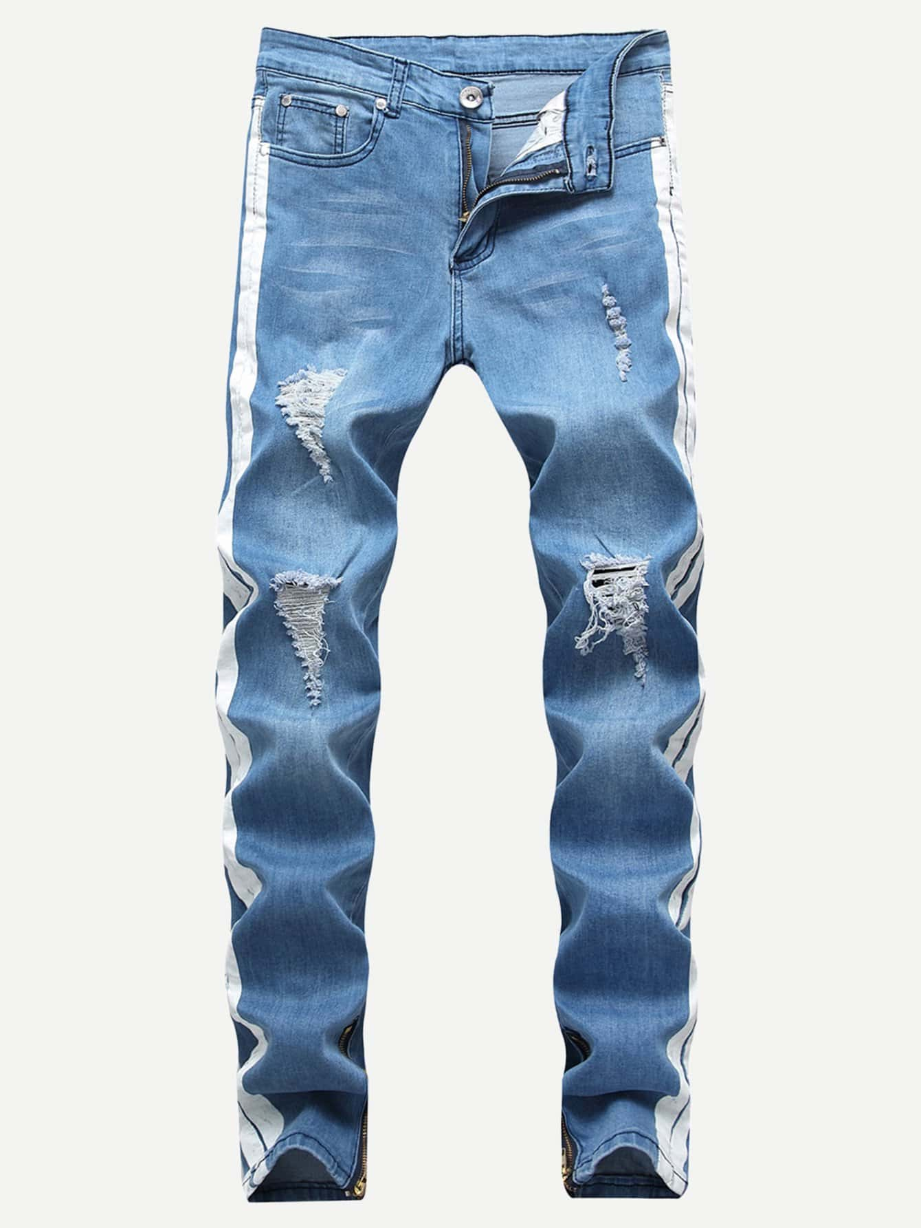 Men Contrast Tape Side Ripped & Zipper Detail Jeans Men Contrast Tape Side Ripped & Zipper Detail Jeans