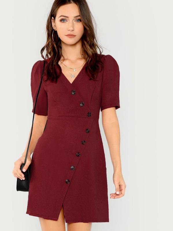 09ab0c25615 Asymmetrical Button Up Wrap Dress