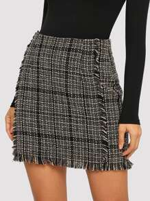 Frayed Trim Plaid Tweed Skirt