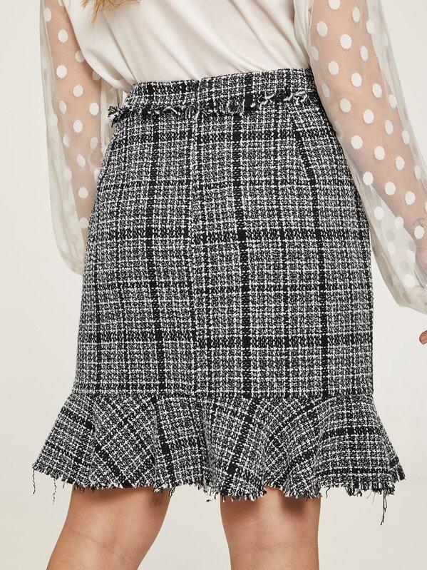53fec77443 Plus Frayed Trim Ruffle Tweed Skirt | SHEIN