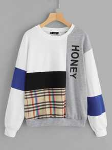Cut and Sew Letter & Plaid Pullover