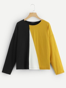 Cut-and-Sew Drop Shoulder Tee