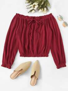 Frill Self Tie Off The Shoulder Blouse