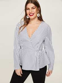 Plus Surplice Striped Blouse