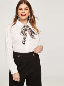 Plus Knot Neck Snake Print Blouse