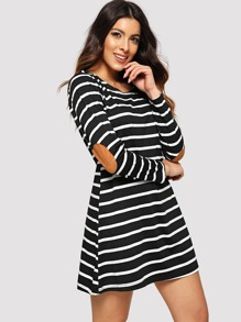 Contrast Panel Striped Dress