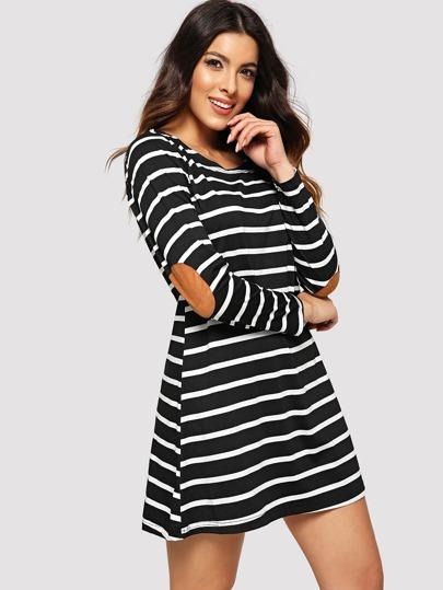 511a6ab529 Contrast Panel Striped Dress