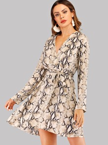 Self Tie Snake Print V-neck Dress