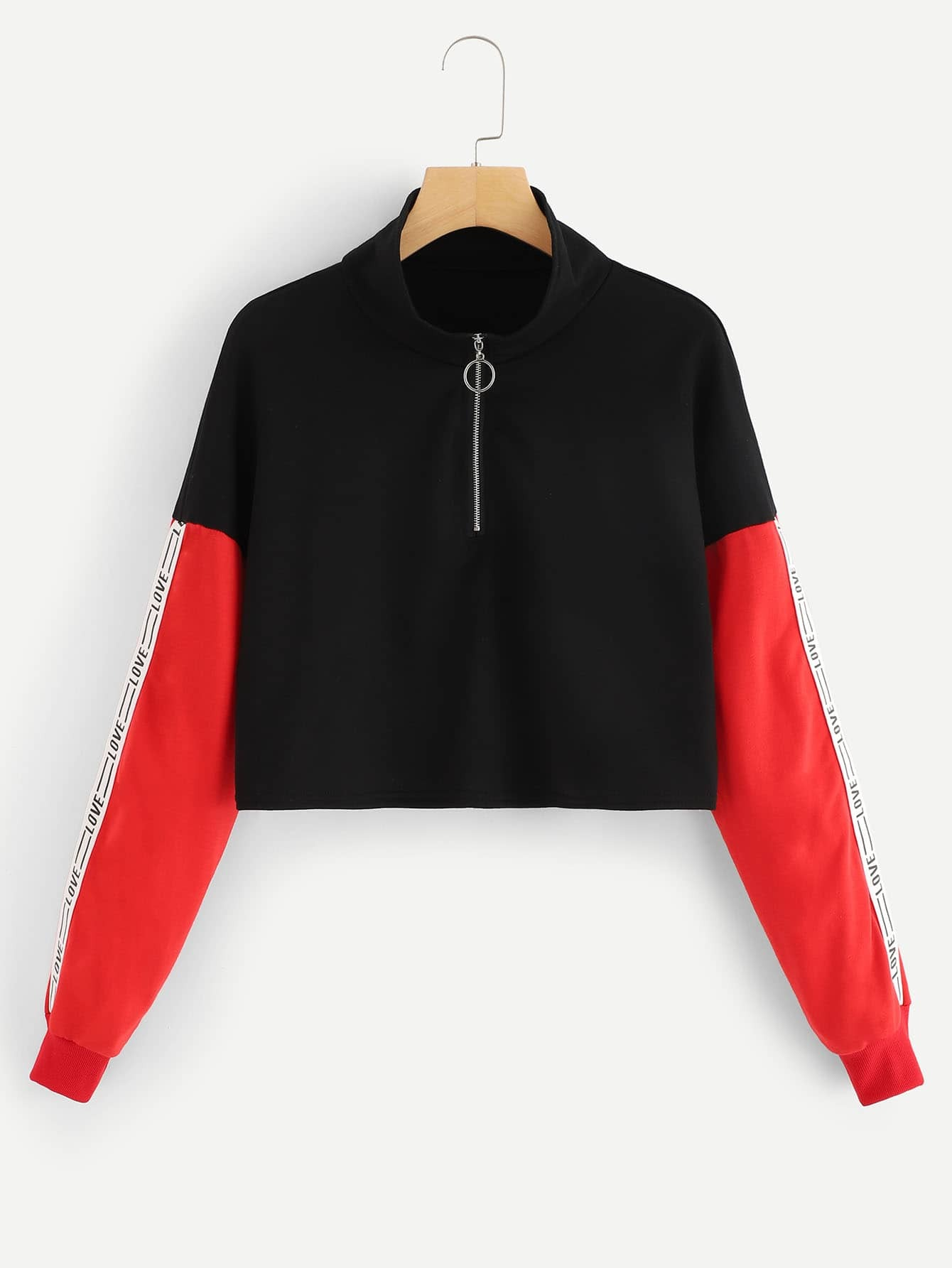 Quarter Zip Colorblock Letter Print Sweatshirt Quarter Zip Colorblock Letter Print Sweatshirt