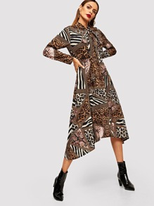 Animal Print Tie Neck Dress