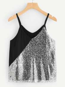 Sequin Panel Color-block Cami Top
