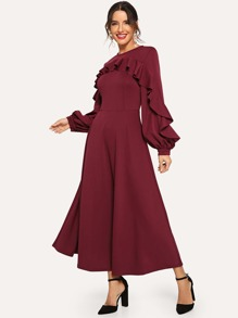 Flounce Trim Bishop Sleeve Fit & Flare Dress