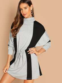 Batwing Sleeve Drawstring Waist Two Tone Dress