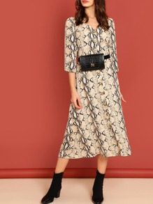 Snake Skin Print Fit and Flare Dress