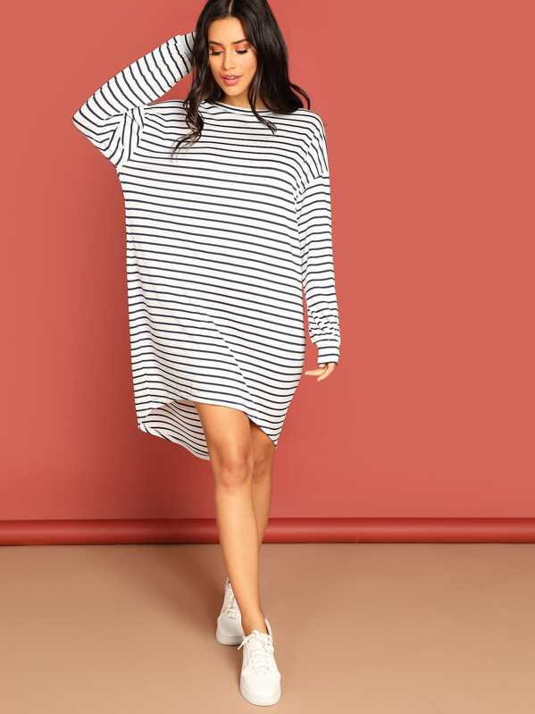 35cd33fb36 Cheap Slouchy High Low Striped Tee Dress for sale Australia | SHEIN