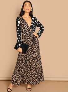 Wrap Leopard Print Polka Dot Belted Dress