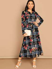 Self Belted Floral & Plaid Shirt Dress