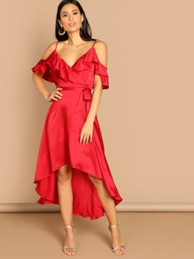Cold Shoulder Dip Hem Dress