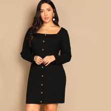Plus Form Fitting Buttoned Dress